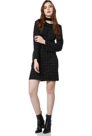 Bcfemm Siyah Baklavalı Triko Elbise