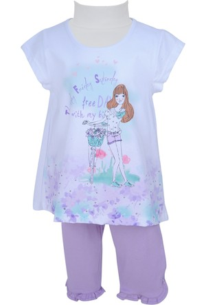 Zeyland Kız Çocuk Beyaz Tunik + Tayt Takım - 71M4DJG76