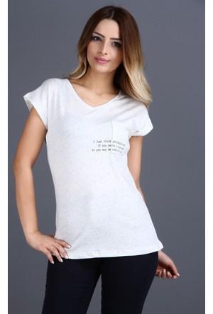 Majör V Yaka Cep Detay T-Shirt