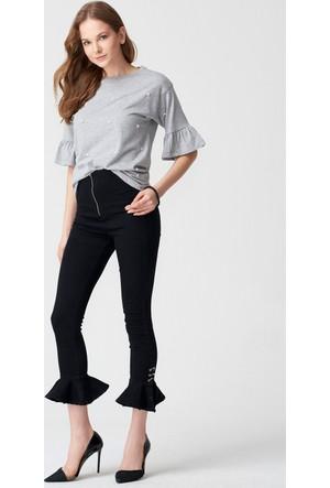 Dilvin Kadın 9813 Yüksek Bel Paçaları Fırfırlı Pantolon Siyah