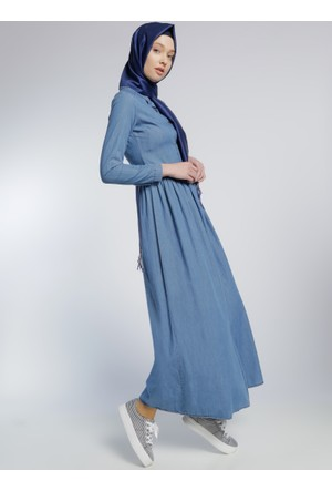 Naturel Kumaş Kot Elbise - Mavi - Benin