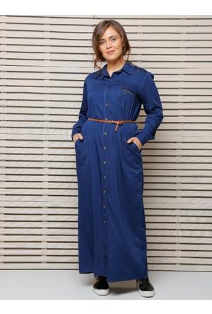 Boydan Düğmeli Kot Elbise - Mavi - Alia