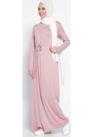 Düğme Detaylı Elbise - Gül Kurusu - Everyday Basic