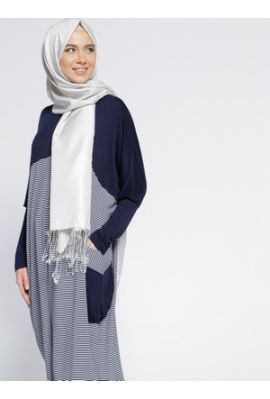 Çizgili Salaş Tunik - Lacivert - Everyday Basic