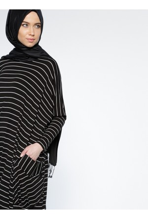 Çizgili Salaş Elbise - Siyah - Everyday Basic