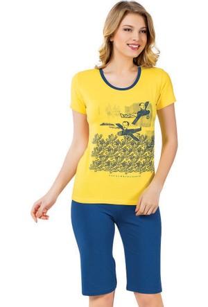 Kapri Pijama Takımı - Sarı Mavi - Akbeniz