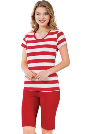 Kapri Pijama Takımı - Kırmızı Beyaz - Akbeniz