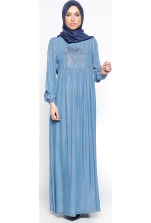Drop Baskılı Tensel Elbise - Mavi - Ginezza