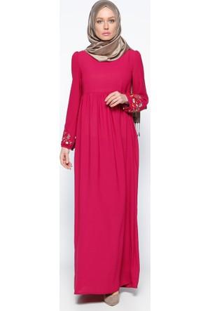 Nakış Detaylı Elbise - Fuşya - Tuncay