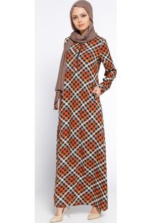 Ekoseli Elbise - Siyah - Cml Collection
