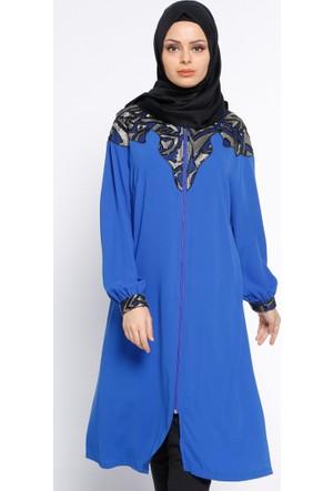 Fermuarlı Tunik - Saks - Eva Fashion