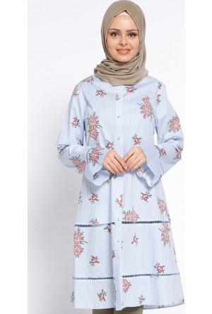 Çiçekli Tunik - Mavi - Cml Collection