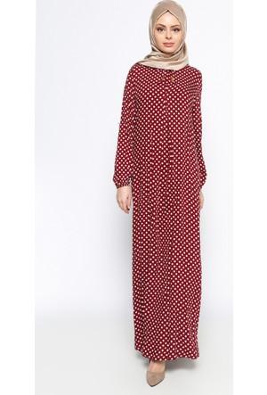 Puantiyeli Elbise - Bordo - Ginezza