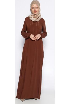Drop Baskı Detaylı Elbise - Kahverengi - Ginezza