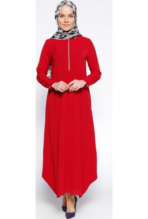 Kapüşonlu Elbise - Kırmızı - Beha Tesettür