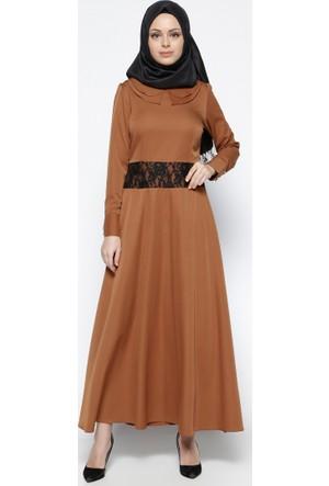 Dantel Detaylı Elbise - Açık Kahve - Beha Tesettür
