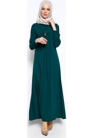 Pile Detaylı Elbise - Yeşil - Ginezza