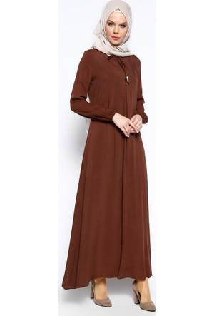 Pile Detaylı Elbise - Kahverengi - Ginezza