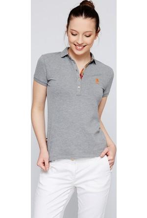 U.S. Polo Assn. Kadın Tp01İy07-011 Polo T-Shirt Gri Melanj