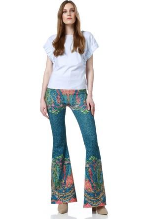 Fashiontayt Desenli İspanyol Paça Pantolon