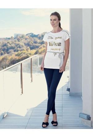 Mel Bee Kemerli Kadın Tayt - T-Shirt Takım Beyaz MBP23328-1