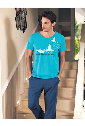 Şahinler Baskılı Erkek Pijama Takımı Turkuaz MEP23525-1