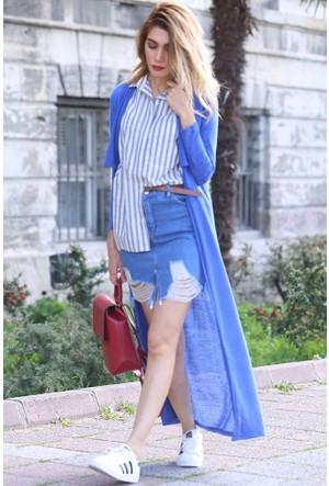 Bsl Fashion Saks Mavi Yelek Hırka 9130