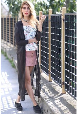 Bsl Fashion Siyah Yelek Hırka 9130