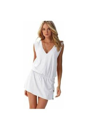TveT Likralı Plaj Elbisesi - 2 Beden - Beyaz