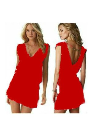 TveT Likralı Plaj Elbisesi - 2 Beden - Kırmızı