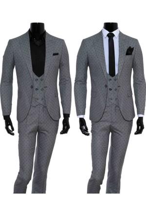 GiyimGiyim Gri Puantiyeli Dar Kesim Yelekli Erkek Takım Elbise