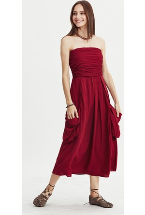 Los Banditos Kadın Bordo Midnight Elbise E35