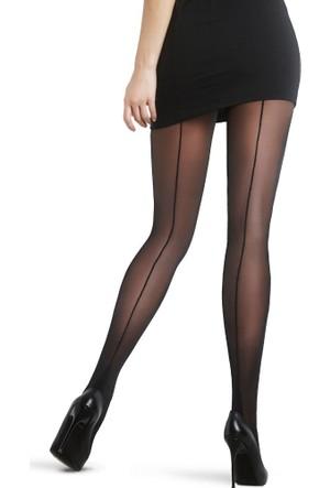 Penti Nostaji Arkası Çizgi Desenli Külotlu Çorap -Siyah