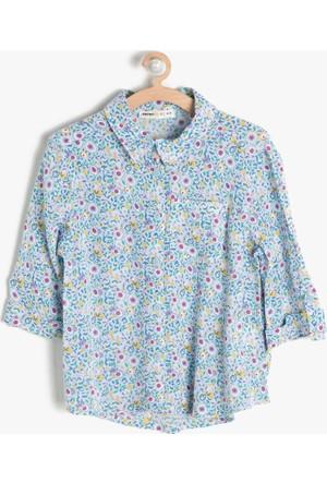 Koton Kız Çocuk Çiçekli Gömlek Mavi