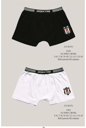 Roly Poly Beşiktaş Lisanslı Çocuk 2'li Logolu Boxer