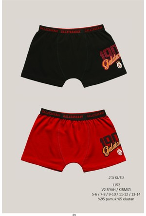 Roly Poly Galatasaray Lisanslı Çocuk 2'li Baskılı Boxer