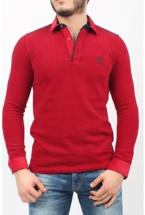 C21 Polo Yaka Erkek Sweatshirt Kırmızı 1736
