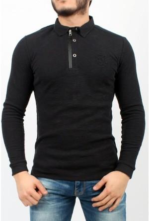 C21 Polo Yaka Erkek Sweatshirt Siyah 1713