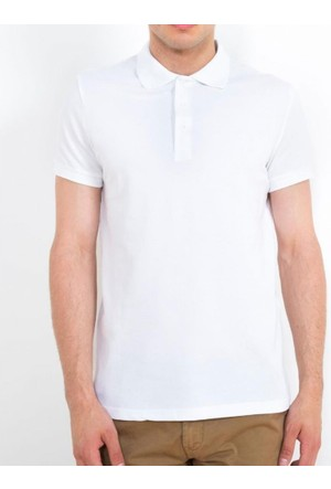 Cazador Polo Yaka T-Shirt Slim Fit Beyaz 4613