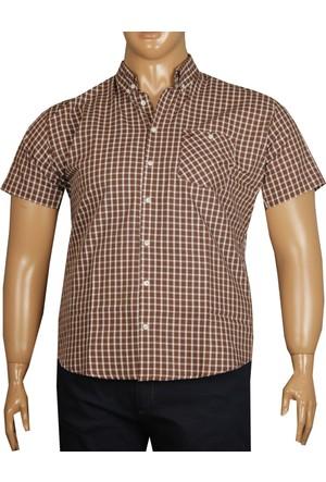 Fala Jeans Büyük Beden Kısa Kol Gömlek - Kahverengi