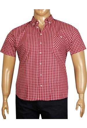 Fala Jeans Büyük Beden Kısa Kol Gömlek - Kırmızı