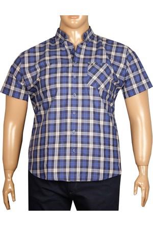 Fala Jeans Büyük Beden Kısa Kollu Ekose Gömlek - Lacivert