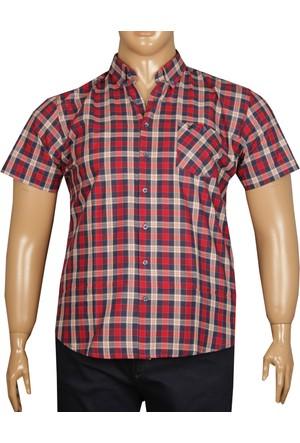 Fala Jeans Büyük Beden Kısa Kollu Ekose Gömlek - Kırmızı