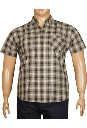 Fala Jeans Büyük Beden Kısa Kollu Ekose Gömlek - Haki