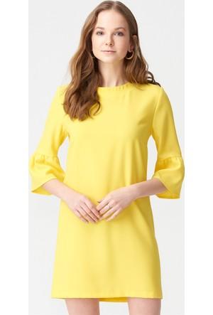 Dilvin 9650 Kolları Volanlı Elbise Sarı
