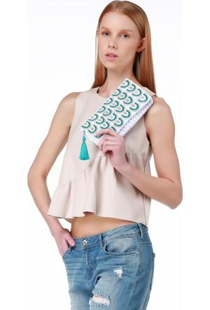 Turquoise Tassel Penye El Örgü Beyaz Çanta TTBGC-BMR1