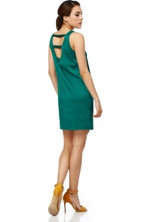 Sense 13370 Ön Arka V Yaka Sırtı Bantlı Saten Elbise