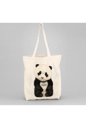 İf Dizayn Sevimli Panda Baskılı Bez Çanta
