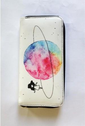 Köstebek Satürn Üzerinde Yürüyen Kız Uzun Cüzdan
