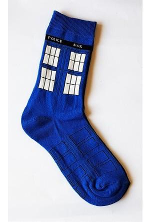 Köstebek Dr. Who Tardis Mavi Çorap